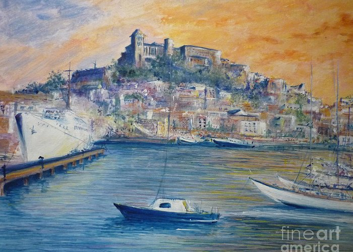 Marina Greeting Card featuring the painting Ibiza Old Town Marina And Port by Lizzy Forrester