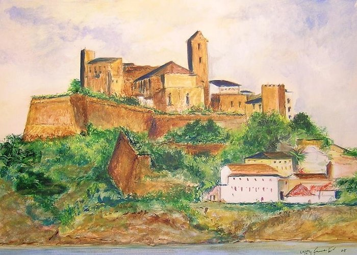 Landscape Greeting Card featuring the painting Ibiza Old Town Unesco Site by Lizzy Forrester