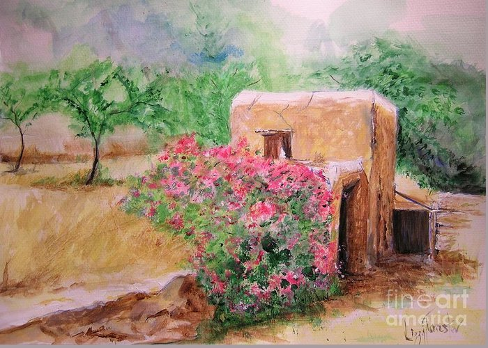 Rustic Greeting Card featuring the painting Ibiza Rustica by Lizzy Forrester