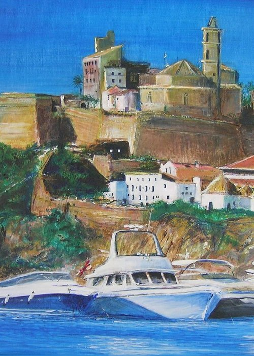 Original Landscape Painting Greeting Card featuring the painting Ibiza Town by Lizzy Forrester