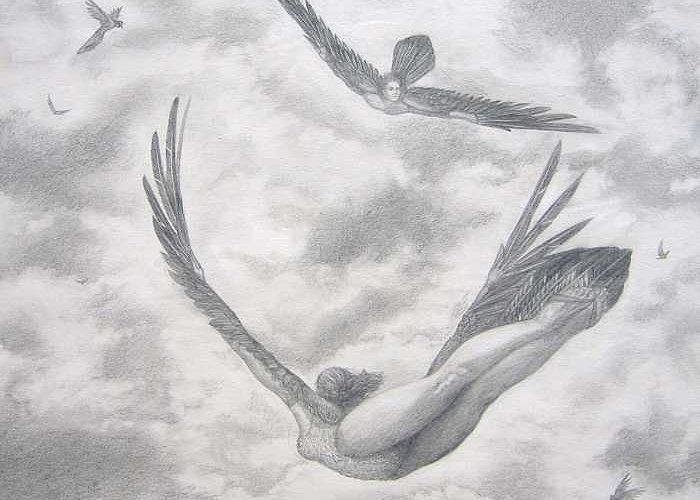 People Flying Greeting Card featuring the drawing Icarus Suits by Julianna Ziegler