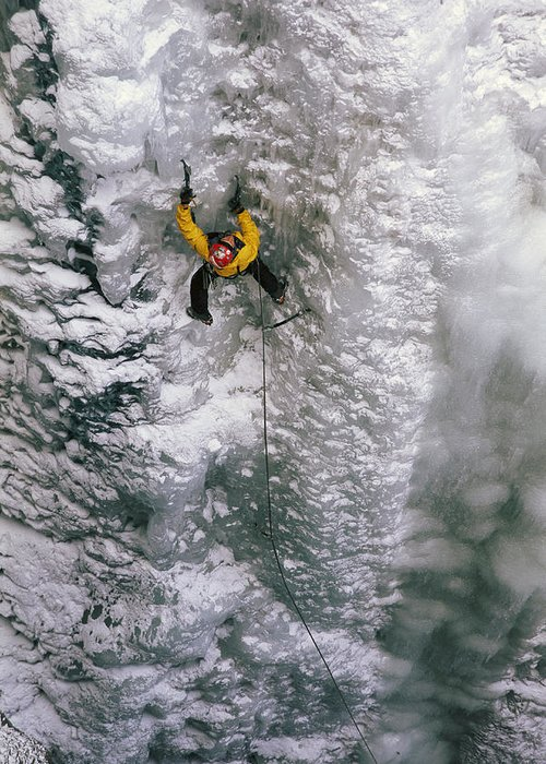 Ice Climbing Greeting Card featuring the photograph Ice Climbing In The South Fork Valley by Bobby Model