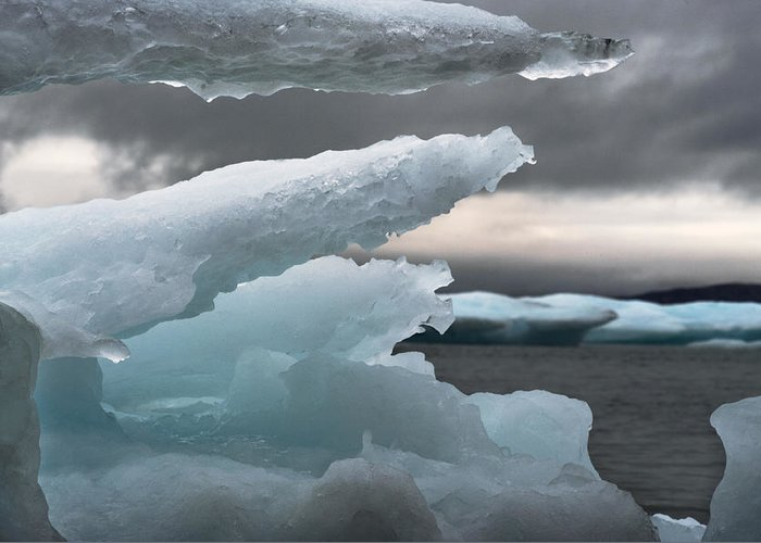 Ice Greeting Card featuring the photograph Ice Drama by Elisabeth Van Eyken