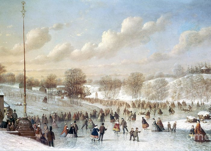 1865 Greeting Card featuring the painting Ice Skating, 1865 by Granger