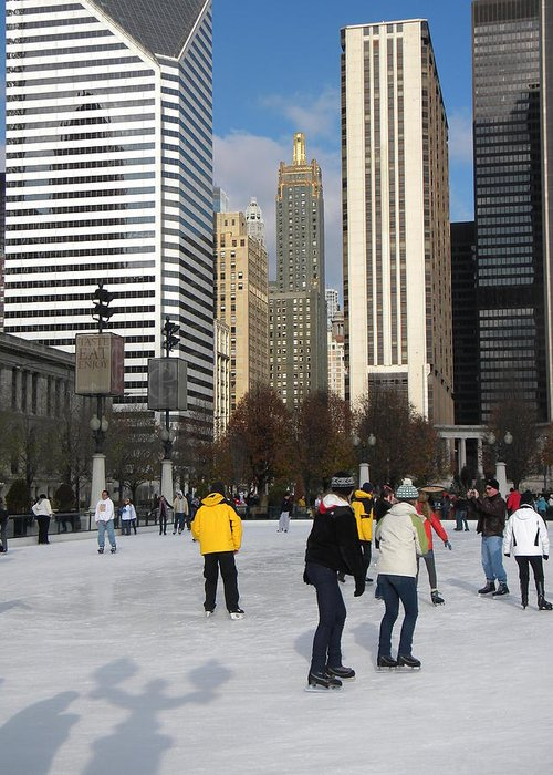 Cityscene Greeting Card featuring the photograph Ice Skating In The Park by Jan Gilmore