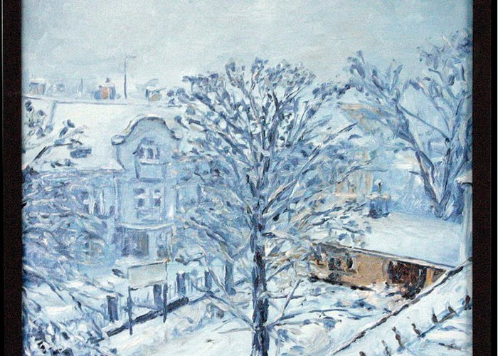 Landscape Greeting Card featuring the painting Ice White by Pablo de Choros