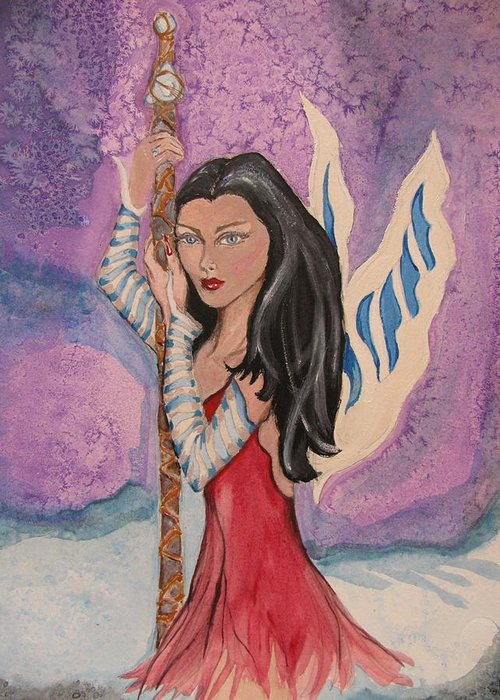 Faerie Greeting Card featuring the painting Ice Wings by Lindie Racz