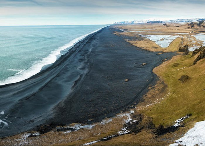 Iceland Greeting Card featuring the photograph Iceland Coast And Black Beach Panorama by Matthias Hauser
