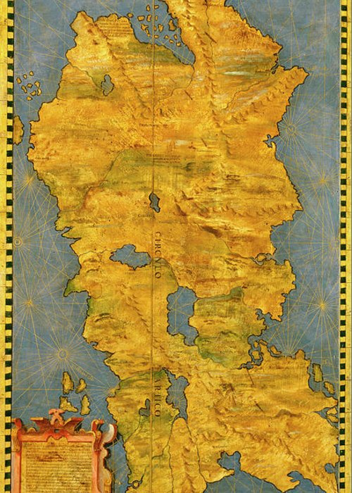 Map Greeting Card featuring the painting Iceland by Italian painter of the 16th century