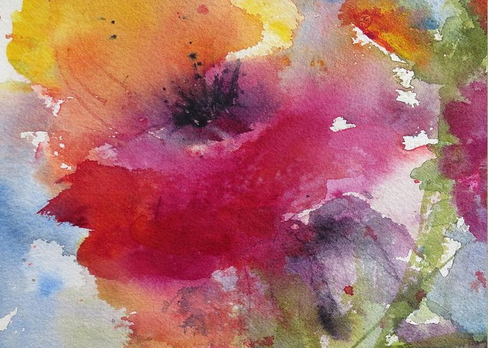 Poppy Greeting Card featuring the painting Iceland Poppy by Anne Duke