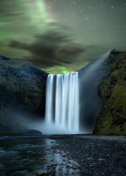 Skogafoss Greeting Card featuring the photograph Iceland Waterfall by Frank Delargy
