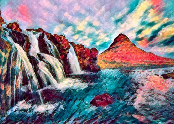 Abstract Greeting Card featuring the photograph Iceland Waterfalls by Robert Kinser