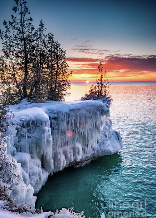 Door County Greeting Card featuring the photograph Icicle Cliffs by Ever-Curious Photography