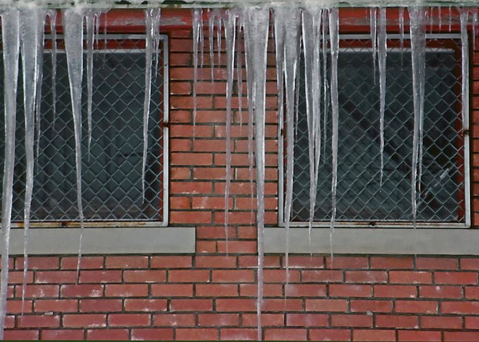 Ice Greeting Card featuring the photograph Icicles 2 - In Front Of Windows Off Red Brick Bldg. by Steve Ohlsen