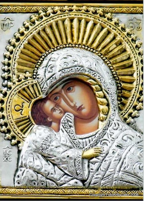 Virgin Mary Greeting Card featuring the photograph Icon Of The Bl Virgin Mary W Christ Child by Jake Hartz
