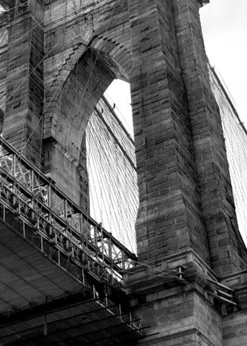 Brooklyn Bridge Greeting Card featuring the photograph Iconic Arches by Az Jackson