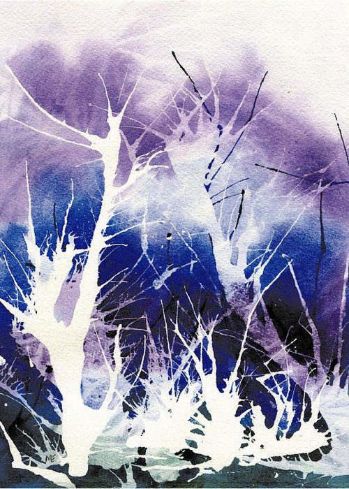 Ice Greeting Card featuring the painting Icy Forest by Marsha Elliott