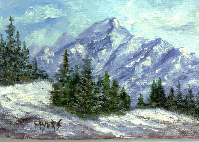 Ice Greeting Card featuring the painting Icy Mountain by Rhonda Myers