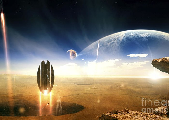 Cataclysm Greeting Card featuring the digital art Idea Taken From Star Trek. The Project by Tobias Roetsch