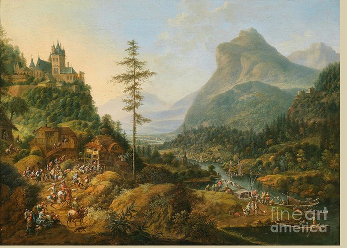 January Griffier (1652-1718) Width Idealized River Landscape With A Hunting Party. Mountain Greeting Card featuring the painting Idealized River Landscape With A Hunting Party by MotionAge Designs