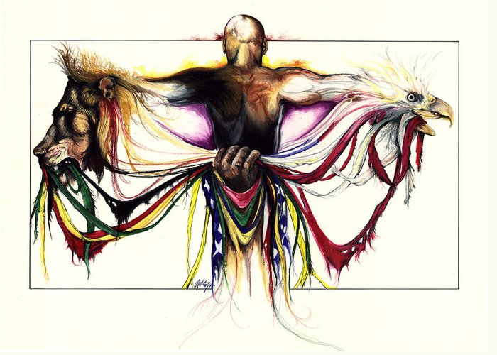 Men Greeting Card featuring the drawing Identity Crisis by Anthony Burks Sr