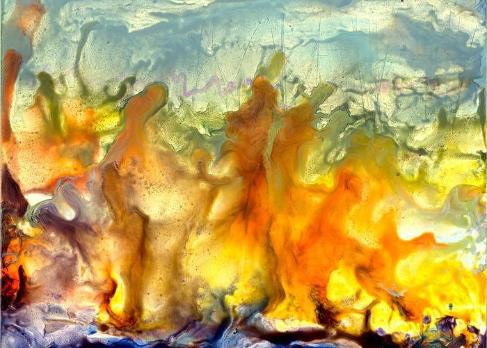 Encaustic Greeting Card featuring the painting If Flames Could Speak by Heather Hennick