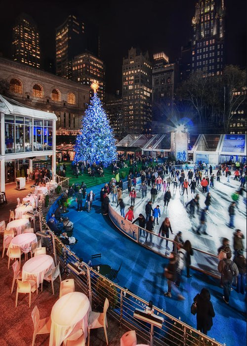 Bryant Park Greeting Card featuring the photograph If I Could Make December Stay by Evelina Kremsdorf