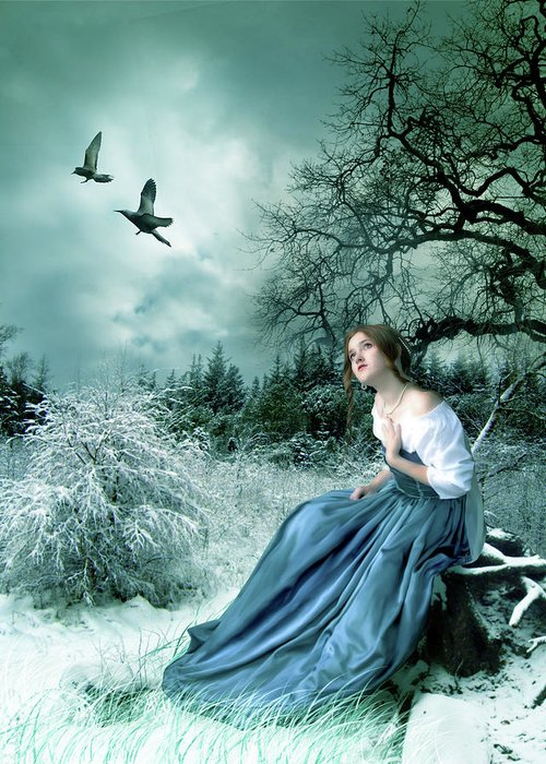 Fantasy Greeting Card featuring the digital art If Only I Had Wings by Julie L Hoddinott