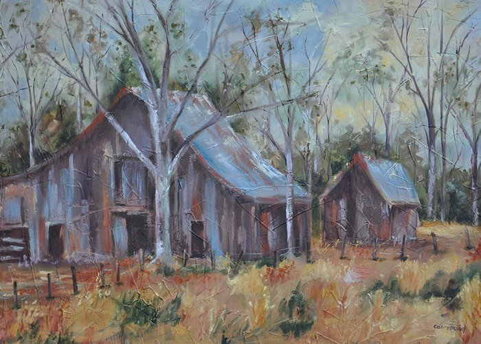 Barns Greeting Card featuring the painting If They Could Speak by Ginger Concepcion