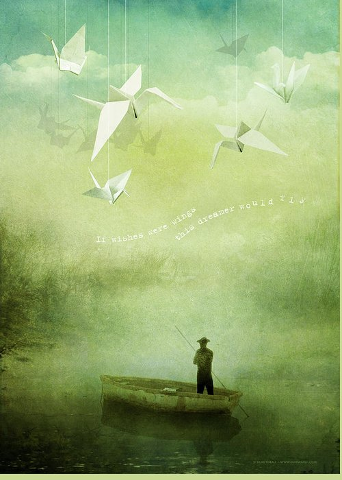 Wishes Greeting Card featuring the digital art If Wishes Were Wings by Silas Toball