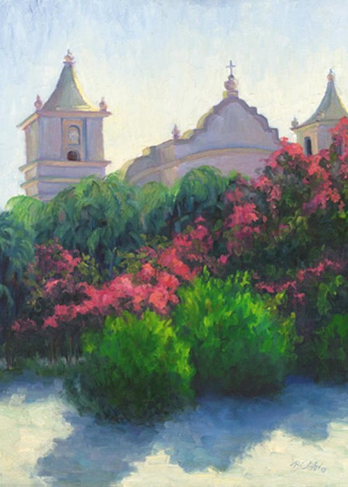 Honduras Greeting Card featuring the painting Iglesia - Juticalpa by Bunny Oliver