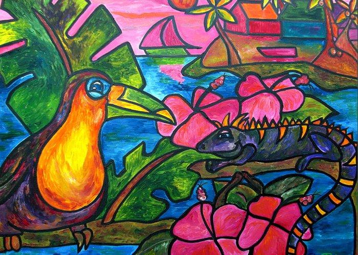 Iguana Greeting Card featuring the painting Iguana Eco Tour by Patti Schermerhorn