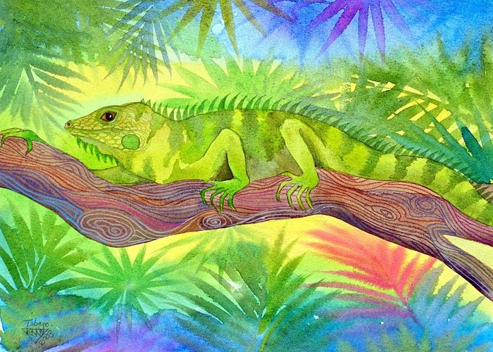 Iguana Rain Forest Jungle Tropical Wild Life Nature Greeting Card featuring the painting Iguana by Jennifer Baird