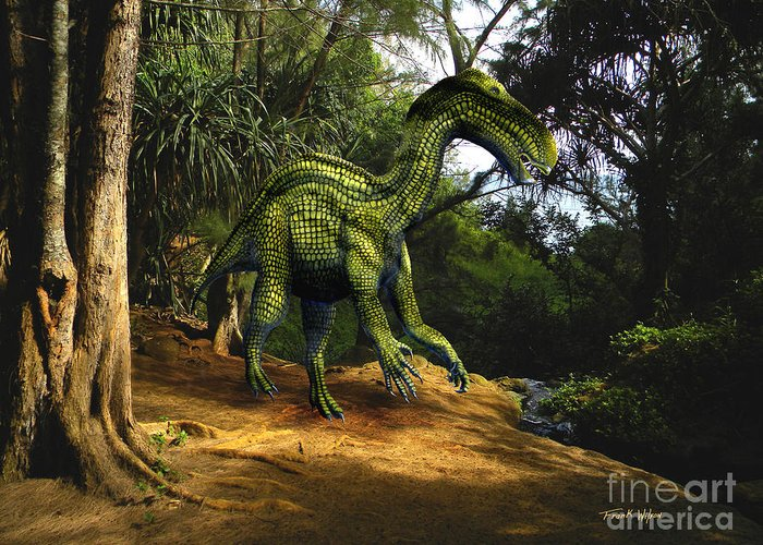 Dinosaur Art Greeting Card featuring the mixed media Iguanodon In The Jungle by Frank Wilson
