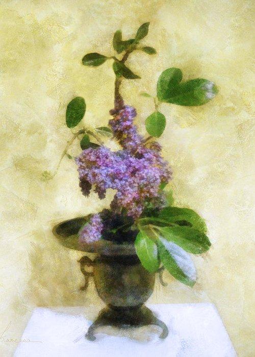 Lilacs Greeting Card featuring the digital art Ikebana Lilacs by Francesa Miller