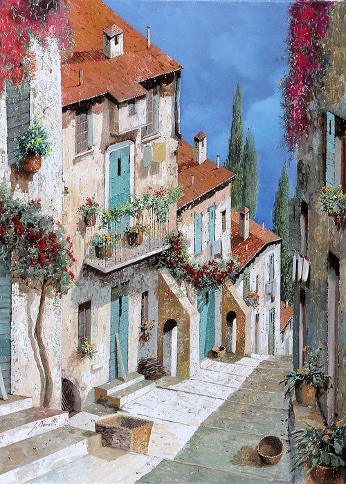 Balcony Greeting Card featuring the painting Il Balcone Fiorito by Guido Borelli