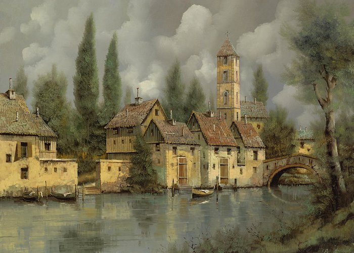 River Greeting Card featuring the painting Il Borgo Sul Fiume by Guido Borelli