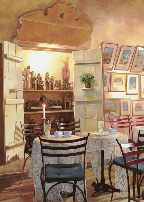 Cafe Greeting Card featuring the painting Il Caffe Dell'armadio by Guido Borelli