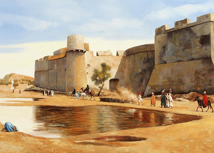 Castle Greeting Card featuring the painting Il Castello by Guido Borelli