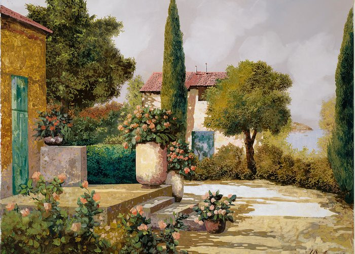 Landscape Greeting Card featuring the painting Il Cipresso by Guido Borelli