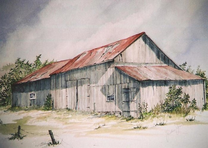 Farm Greeting Card featuring the painting Il Etait Un Fois by Jackie Mueller-Jones