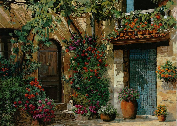 Landscape Greeting Card featuring the painting Il Giardino Francese by Guido Borelli