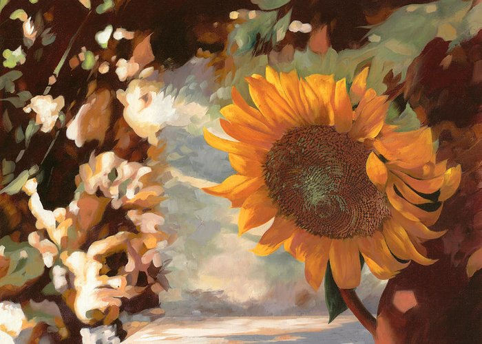 Sunflower.sunflowers Field Greeting Card featuring the painting Il Girasole by Guido Borelli