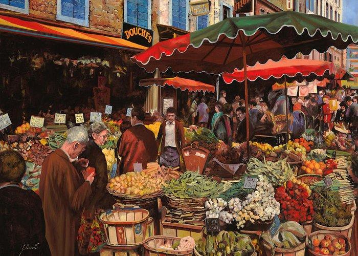 Market Greeting Card featuring the painting Il Mercato Di Quartiere by Guido Borelli