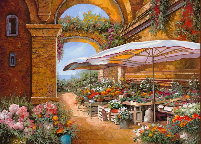 Market Greeting Card featuring the painting Il Mercato Sotto I Portici by Guido Borelli