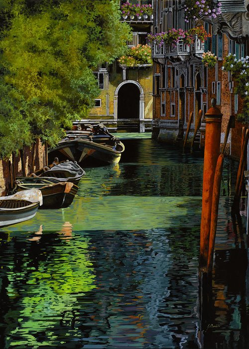 Venice Greeting Card featuring the painting il palo rosso a Venezia by Guido Borelli