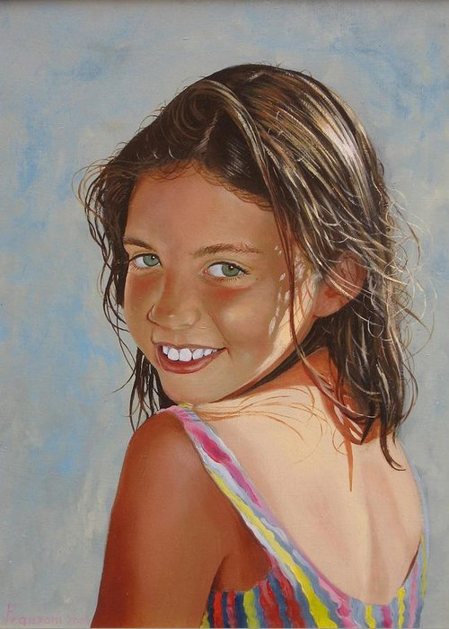 Portrait Greeting Card featuring the painting Il sorriso di Laura by Riccardo Franzoni