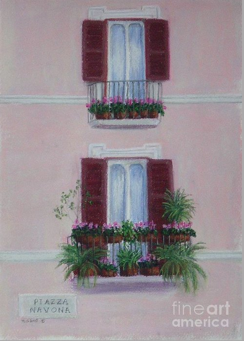 Window Boxes Greeting Card featuring the painting Il Terrazo In Roma Piazza Navona by Mary Erbert