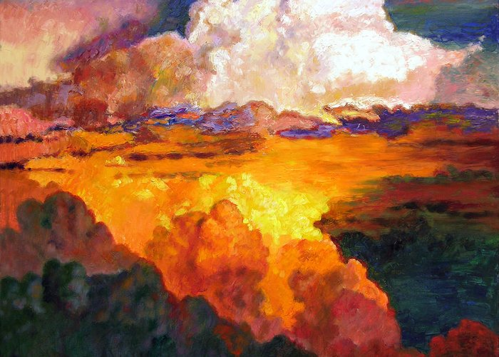 Clouds Greeting Card featuring the painting Ill Fly Away O Glory by John Lautermilch