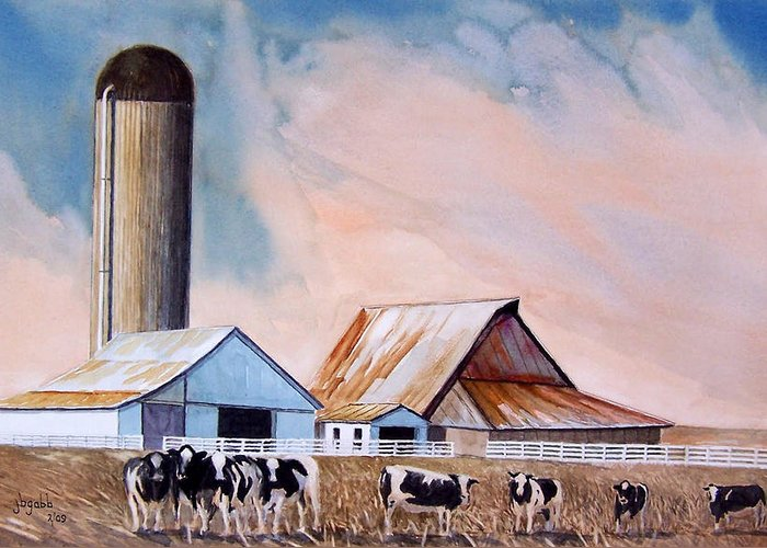 Barns; Cows ;silo Greeting Card featuring the painting Illinois Farm by John Gabb
